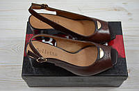 Босоножки женские Beletta 0412 коричневые кожа каблук, фото 1