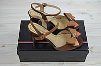 Босоножки женские Big Rope 10609-02 коричневые кожа каблук, фото 1