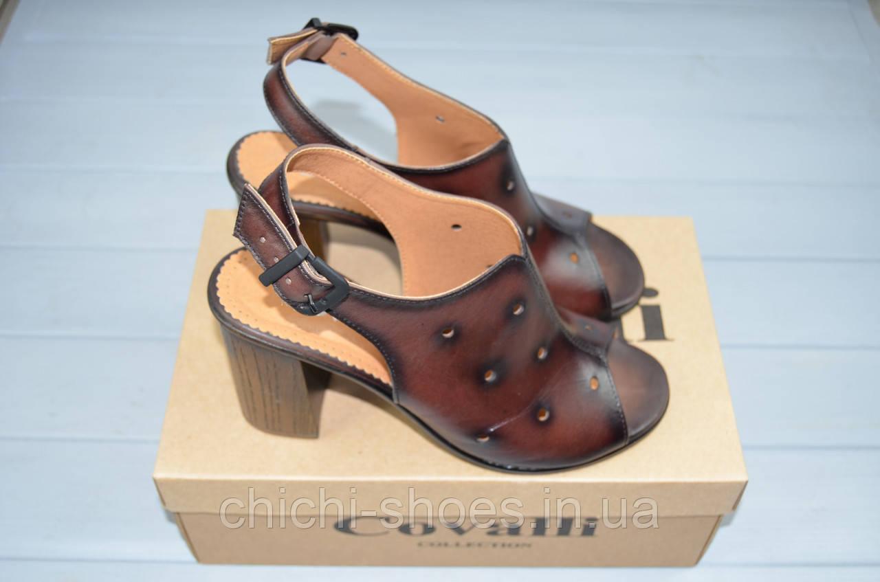 Босоножки женские Covali 16-12 коричневые кожа каблук
