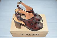 Босоножки женские Covali 16-12 коричневые кожа каблук, фото 1