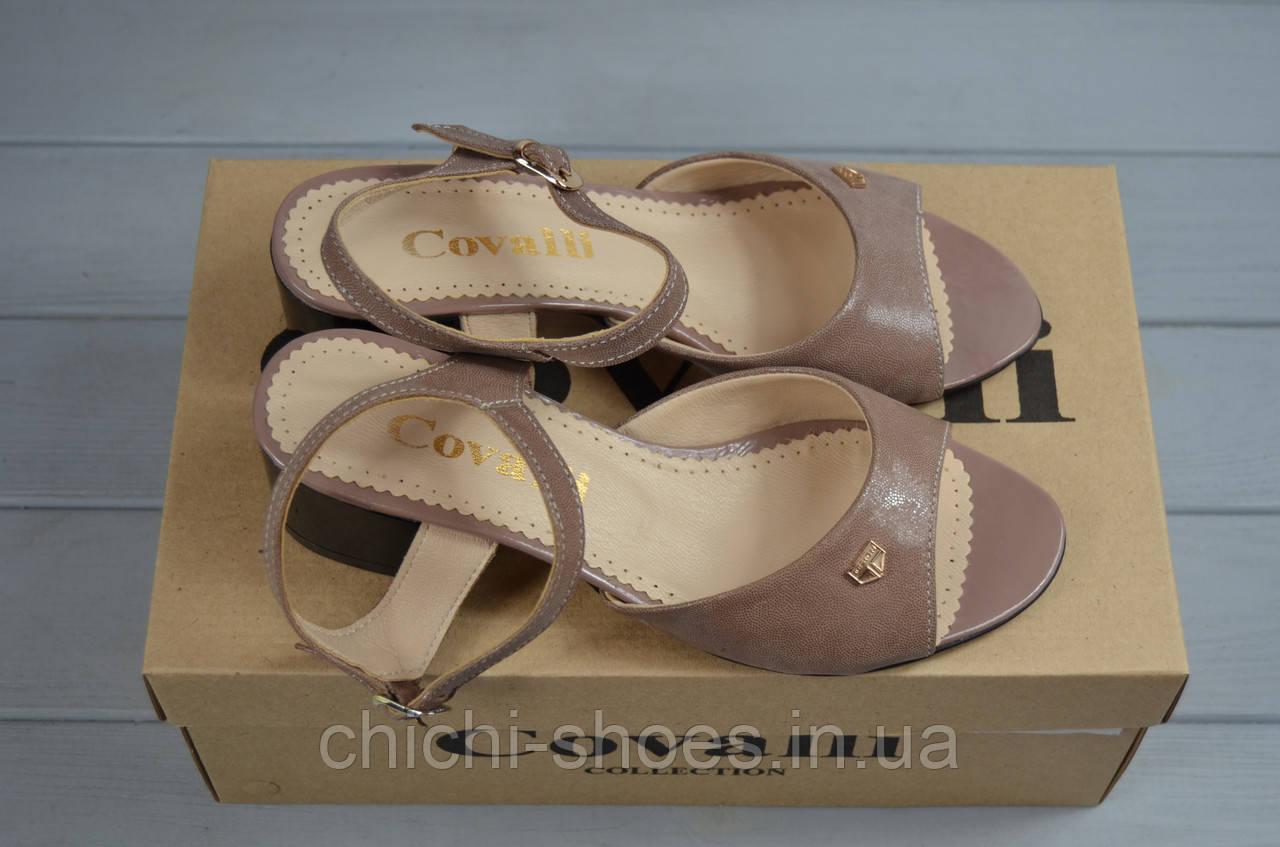 Босоножки женские Covali 16-59-1 пудра-сатин кожа каблук