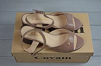 Босоножки женские Covali 16-59-1 пудра-сатин кожа каблук, фото 1