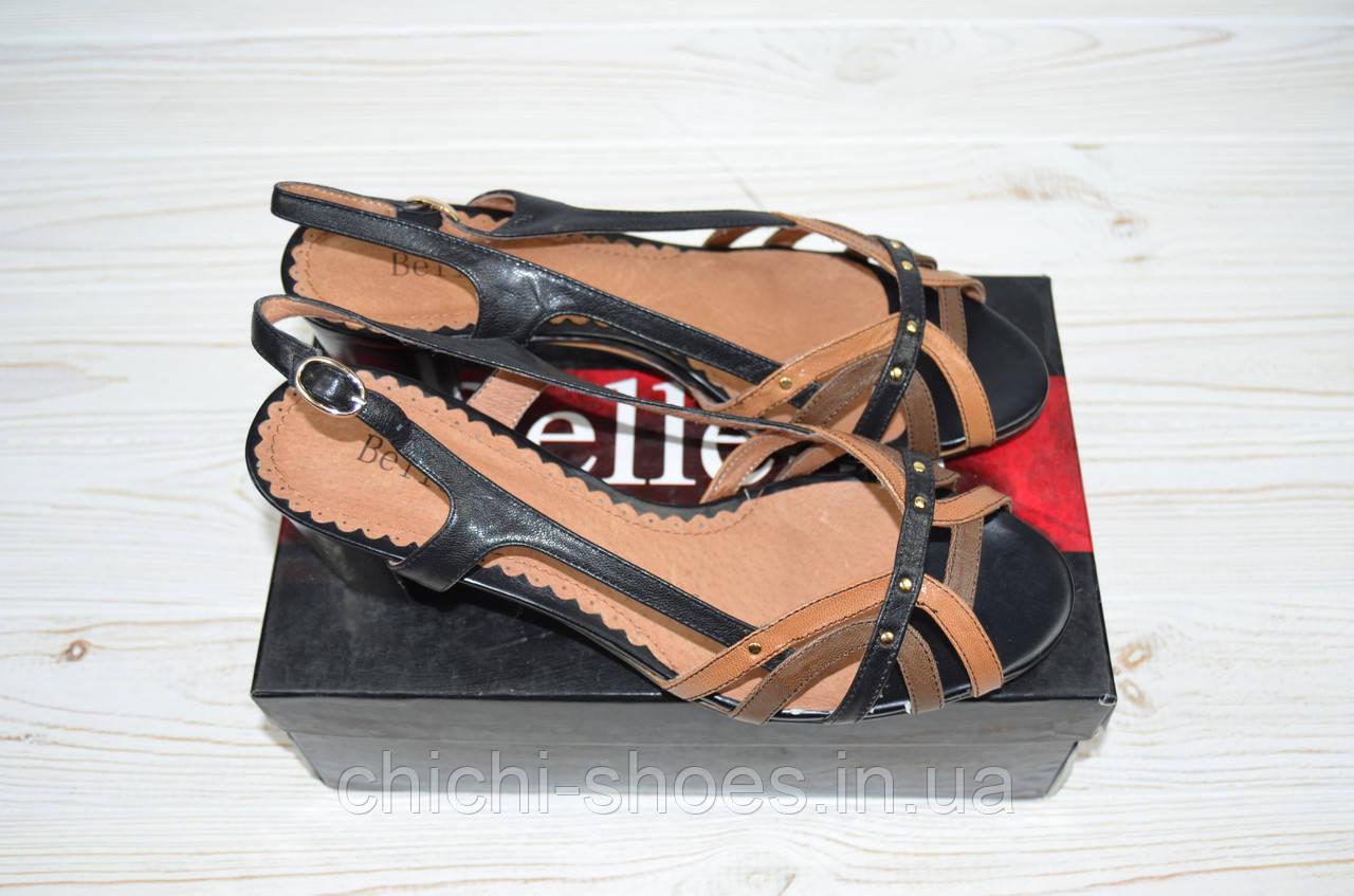 Босоножки женские Beletta 1812 коричневые кожа каблук