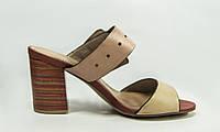Босоножки женские Big Rope 10605-02 коричневые кожа каблук