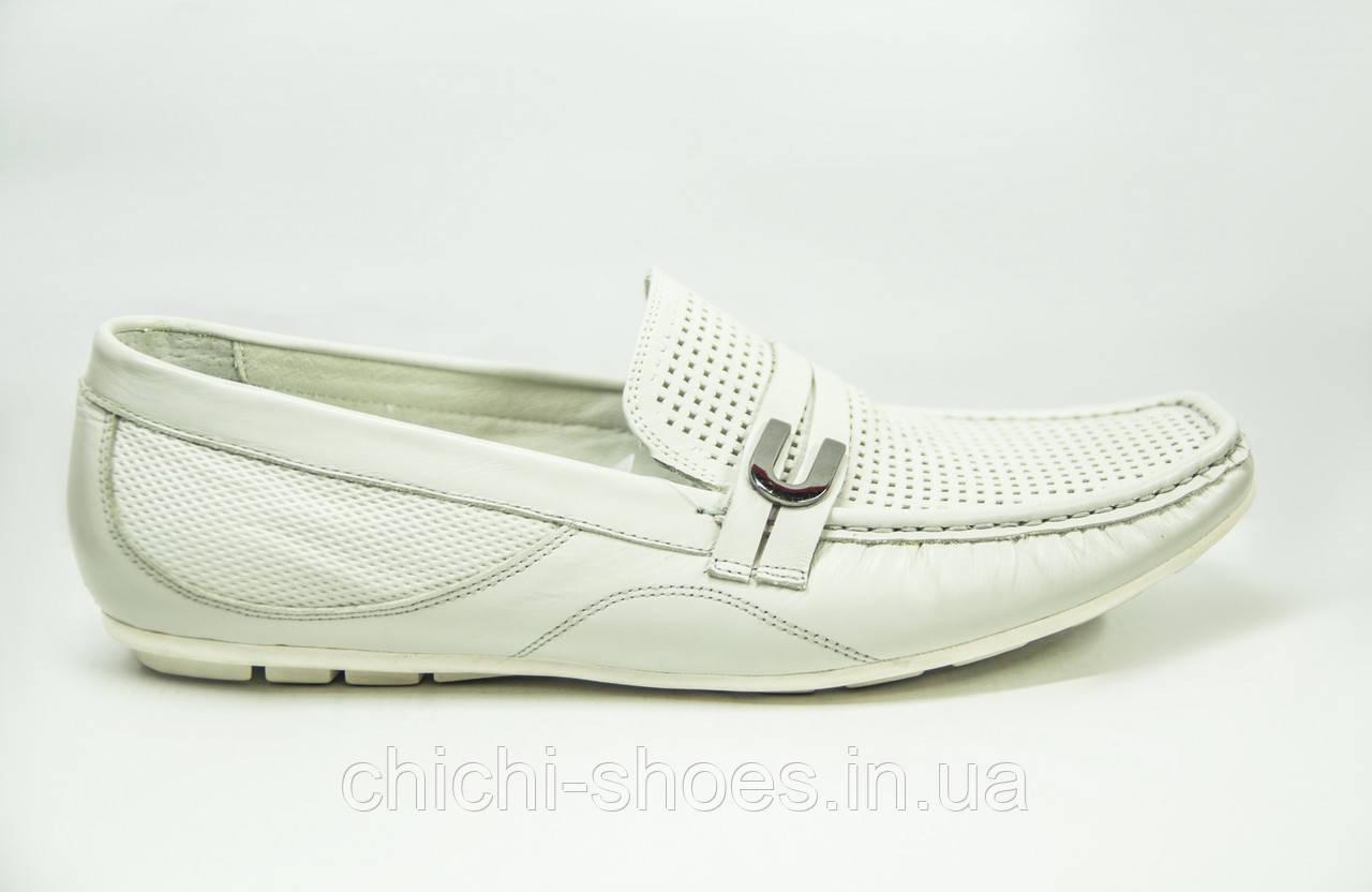 Туфли-мокасины мужские Comfortime 12224 белые кожа