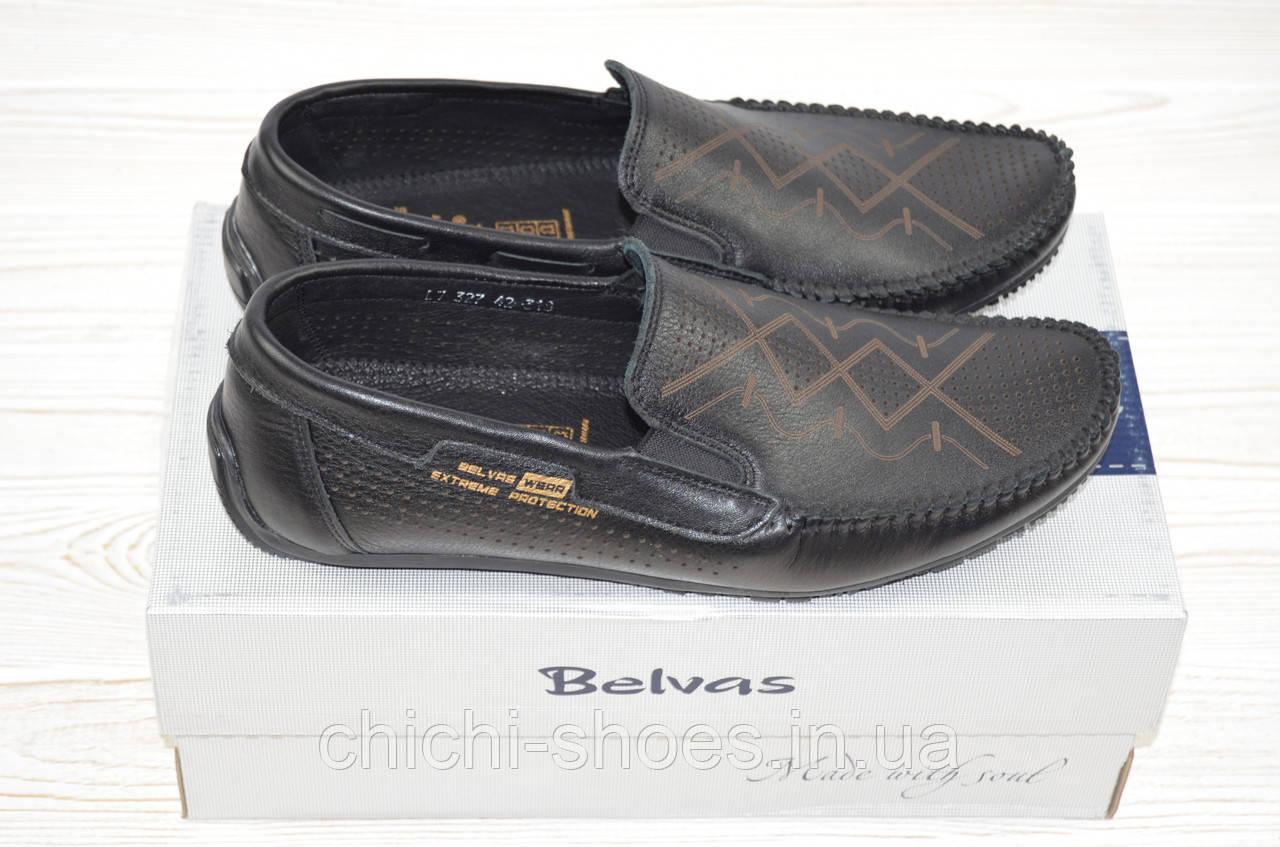 Туфли-мокасины мужские Belvas 327-1 чёрные кожа