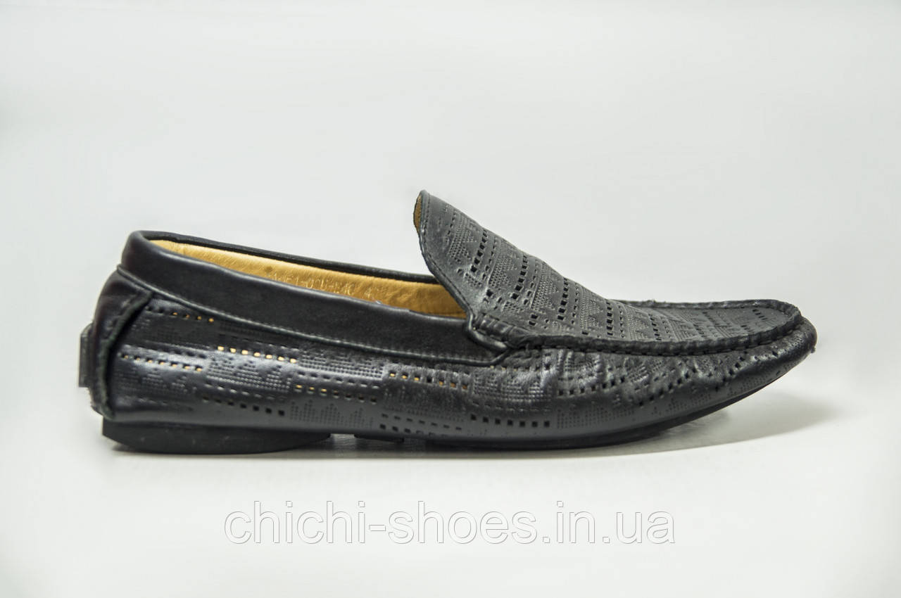Туфли-мокасины мужские Miratti 661-02-46 чёрные кожа