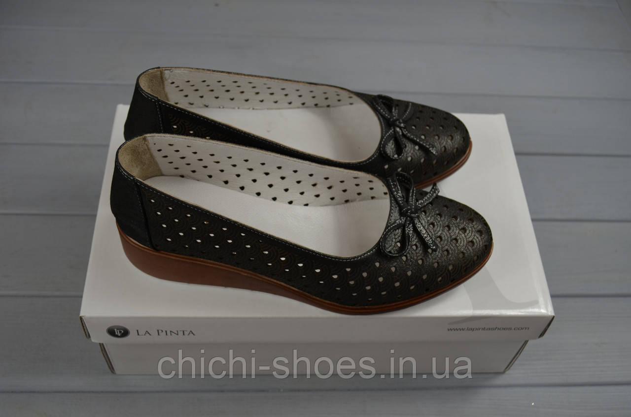 Туфли женские La Pinta 0574-054 чёрный сатин кожа танкетка