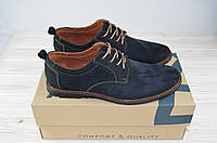 Туфли мужские Affinity 1585-22 синие нубук на шнурках, фото 1