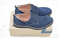 Туфли мужские Affinity 1585-229 синие замша на шнурках, фото 1
