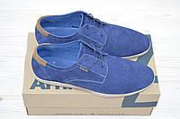 Туфли мужские синие нубук на шнурках 1715-220