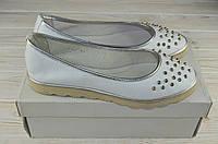 Балетки женские Mariposa 13-93 белые кожа, фото 1