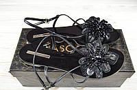 Босоножки женские низкий ход чёрные кожа