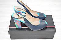 Босоножки женские Big Rope 1217 синие кожа каблук, фото 1