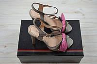 Босоножки женские Big Rope 8047-06 серые кожа каблук, фото 1