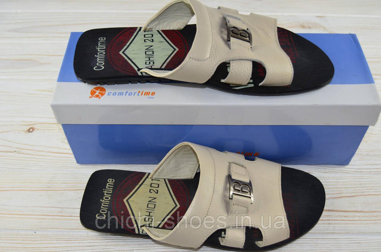 Мужские сандали Comfortime 11171 бежевые кожа