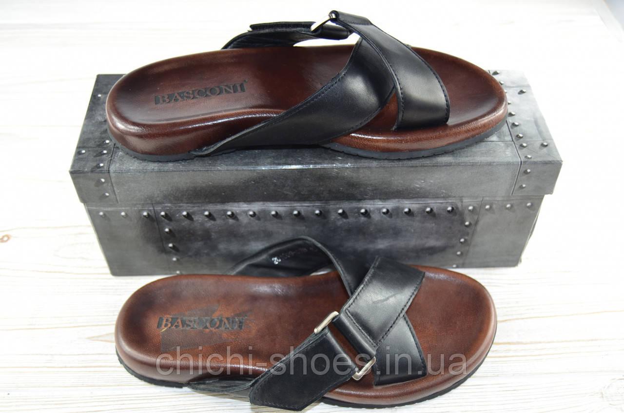 Мужские сандали Basconi 201009-03В чёрные кожа