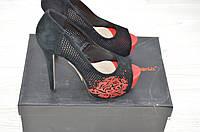 Туфли женские Lanzoni 111-060 чёрные замша каблук-шпилька, фото 1