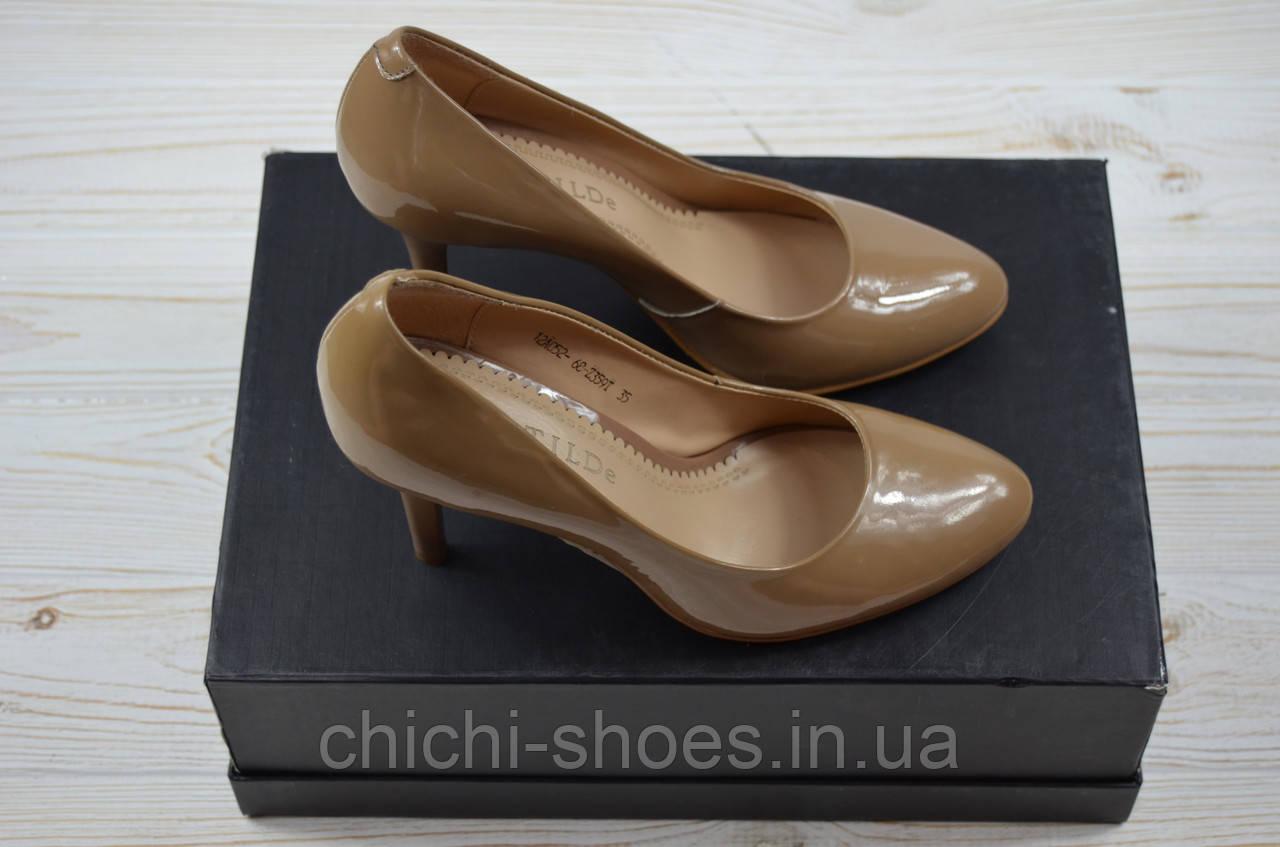 Туфли женские Clotilde 12052-68-359 бежевые кожа-лак каблук-шпилька