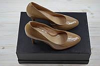 Женские туфли каблук шпилька кожа-лак бежевый