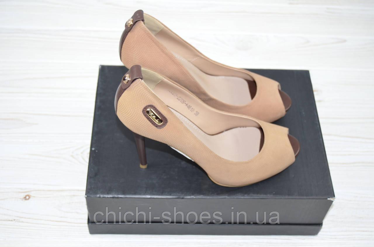 Туфли женские Polan 3023 бежевые кожа каблук-шпилька