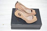 Туфли женские Polan 3023 бежевые кожа каблук-шпилька, фото 1