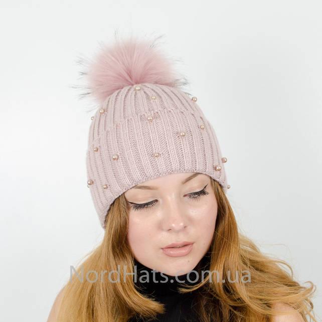 """Женская шапка с помпоном """"Эльза"""" (Пудра)"""