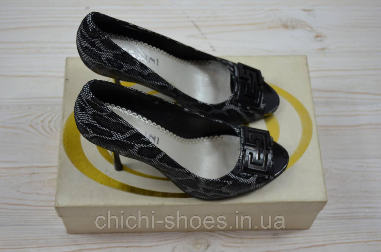 Туфли женские Zallini 8-4 чёрные с серебром кожа каблук-шпилька