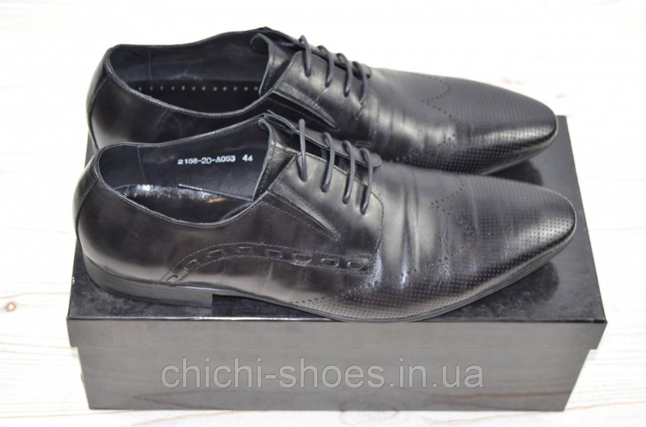 Туфли мужские Miratti 2158-20-053 чёрные кожа на шнурках