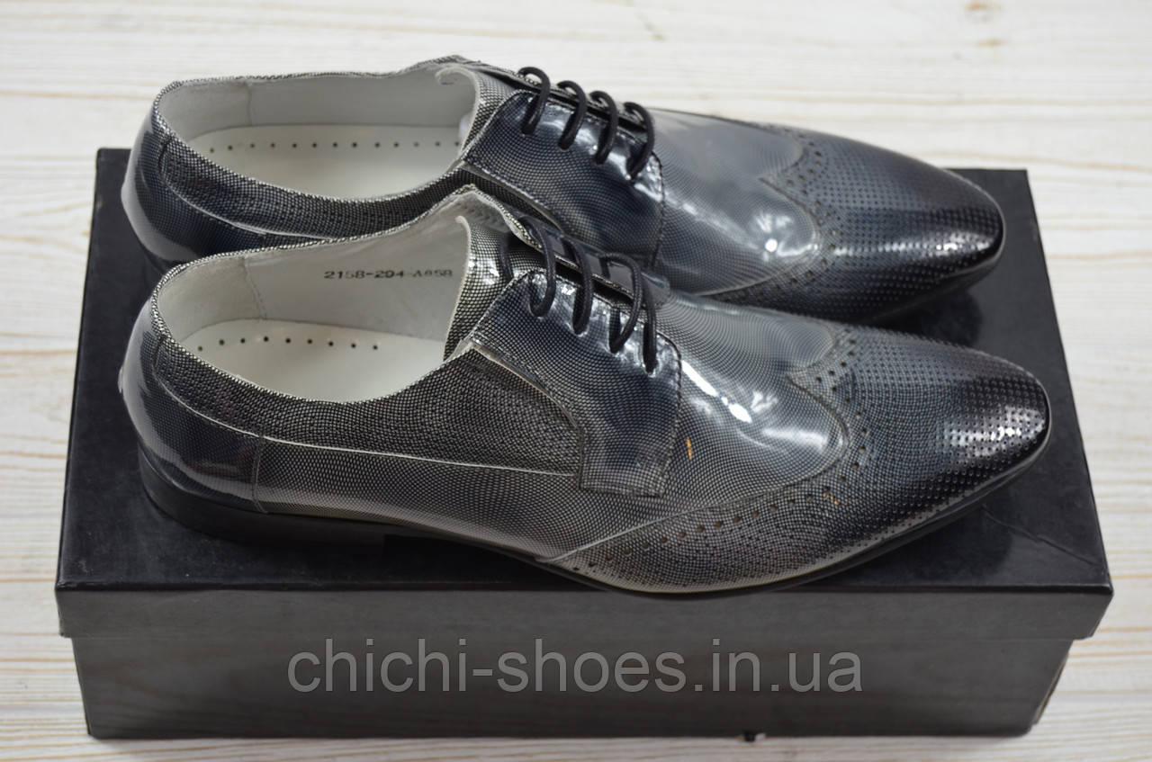 Туфли мужские Miratti 2158-294-858 серо-чёрные кожа-лак