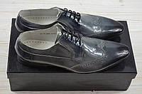 Туфли мужские Miratti 2158-294-858 серо-чёрные кожа-лак, фото 1
