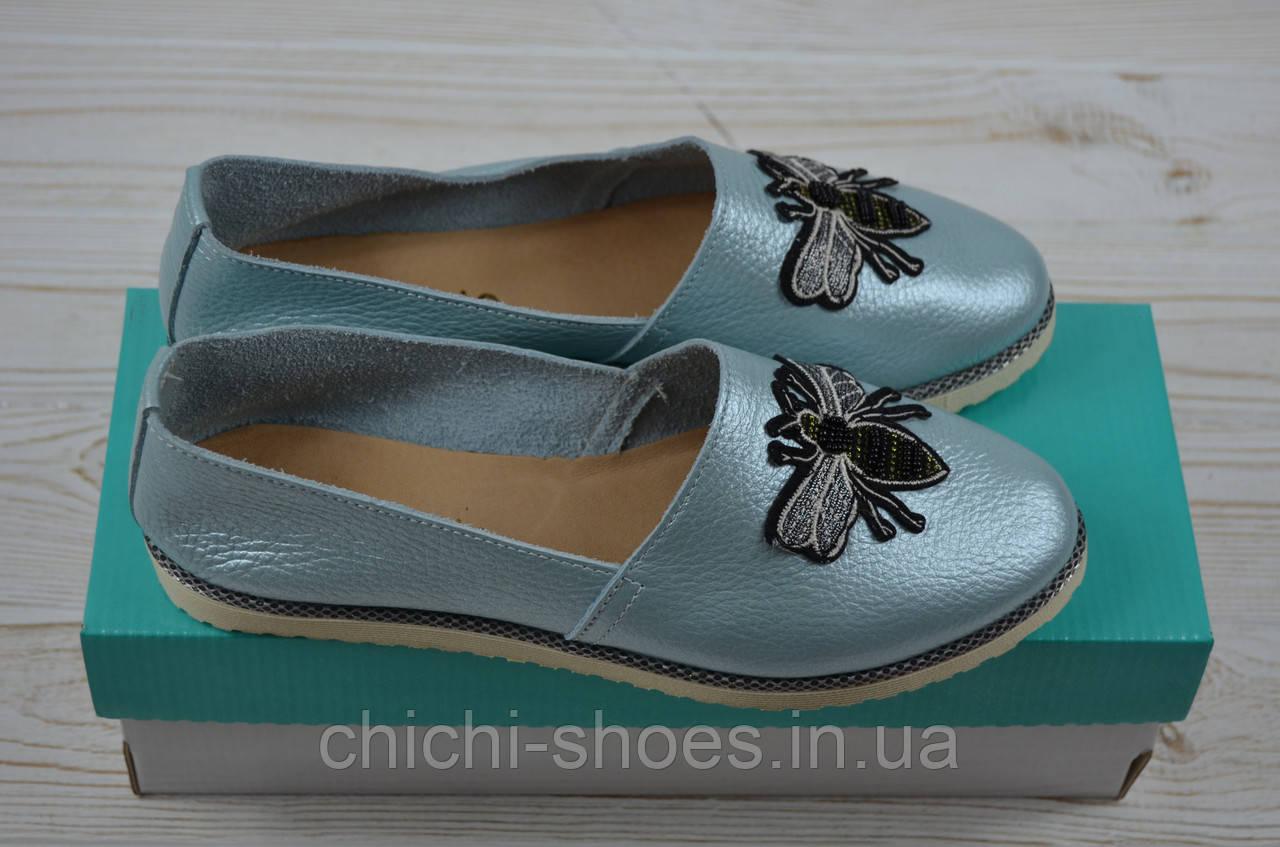 Балетки женские Arcoboletto 111-905-6 голубые кожа