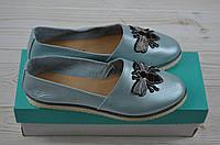 Балетки женские Arcoboletto 111-905-6 голубые кожа, фото 1