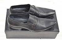 Туфли мужские Miratti 02213-1 чёрные кожа на резинках, фото 1