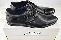 Туфли мужские Artos 154-1 чёрные кожа на шнурках, фото 1