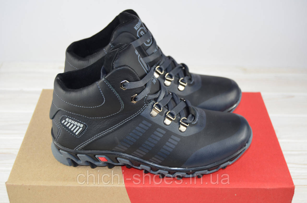 edd72f1c7 Ботинки подростковые зима кожа чёрный на шнурке KONORS 943-33-8-1 ...