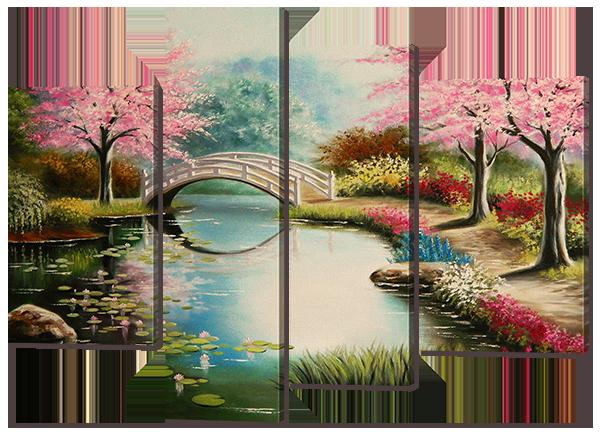 """Модульная картина """"Цветущий сад с мостом"""" 135 * 100"""