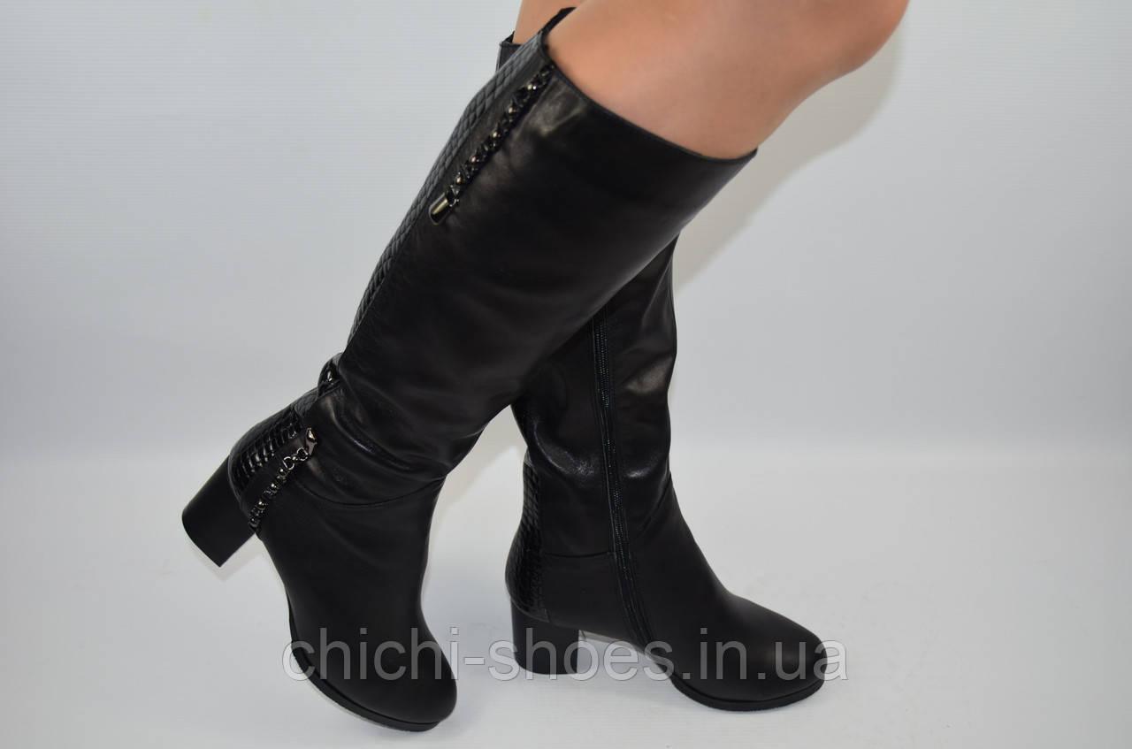 Сапоги женские зимние Foletti 6040 чёрные кожа каблук