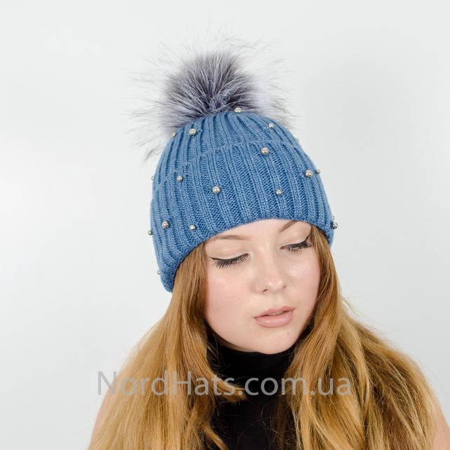"""Женская шапка с помпоном """"Эльза"""" (Джинс)"""