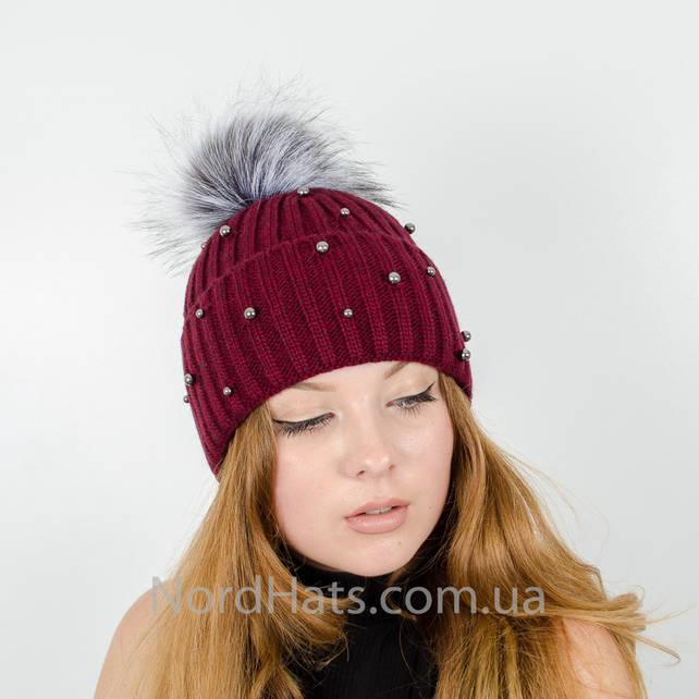 """Женская шапка с помпоном """"Эльза"""" (Бордо)"""