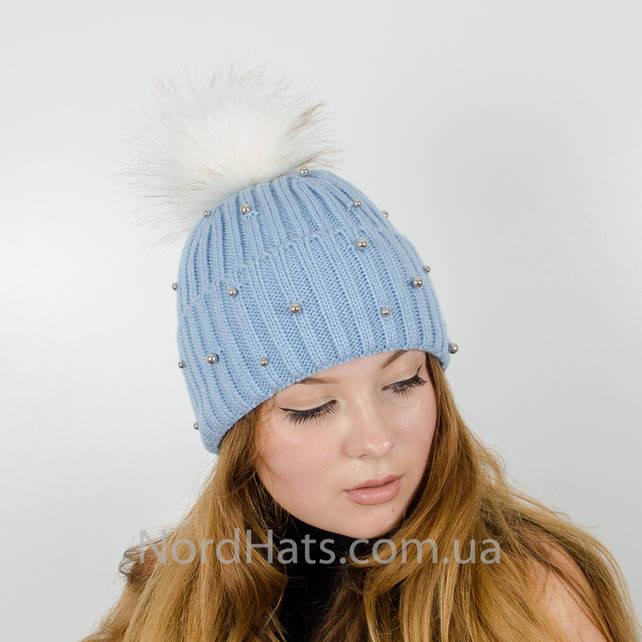 """Женская шапка с помпоном """"Эльза"""" (Воздух)"""