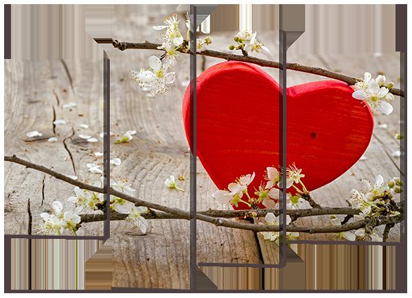"""Модульная картина """"Цветы и сердце"""""""
