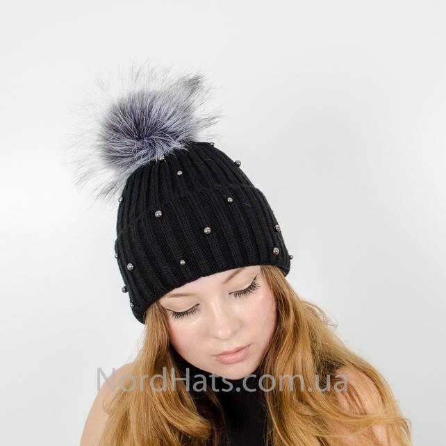 """Женская шапка с помпоном """"Эльза"""" (Черный)"""