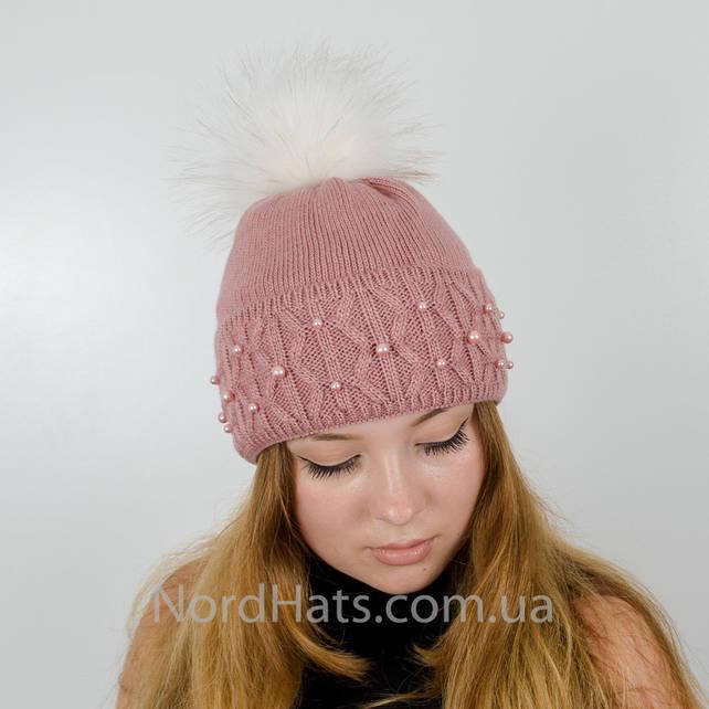 """Женская шапка с помпоном """"Фиби"""" (Пудра темная)"""