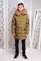 Зимняя удлиненная куртка для мальчика Филл хаки