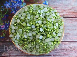 Полубусины перламутровые, 6 мм, цвет оливковый, 10 грамм, (~200 шт).