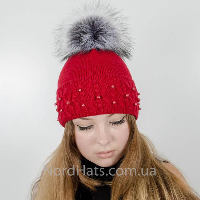 """Женская шапка с помпоном """"Фиби"""" (Коралл)"""
