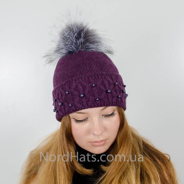 """Женская шапка с помпоном """"Фиби"""" (Фиолетовый)"""