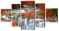 """Модульная картина """"Водопад с цветами"""""""