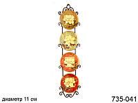 """Набор декоративных тарелок """"цветы"""" из 4-х шт. 11 см на металлической подставке(верт.)"""
